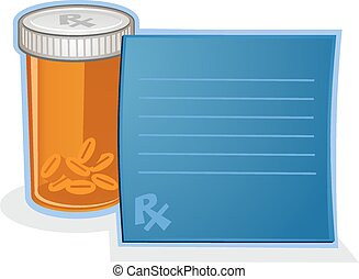 A bottle of pharmaceutical drugs in an orange bottle with a blue prescription pad