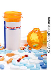 Stock image of prescription drugs. Pills tablets and capsules of different colors. Blank label on bottle, write your own text.