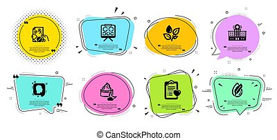 Prescription drugs, Patient history and Night cream icons set. Plants watering, Head and Vision board signs. Vector