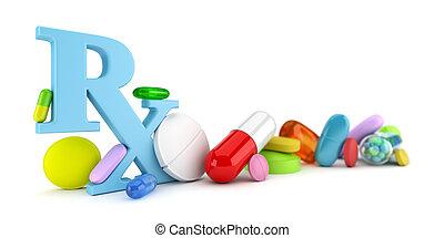Prescription drugs - Variety of colorful prescription drugs
