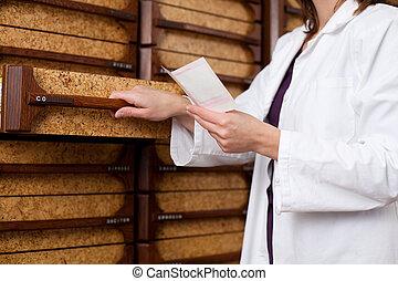 prescription, femme, pharmacien, chimiste