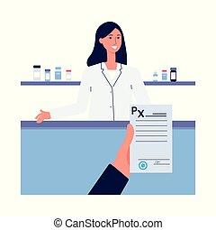 Prescription form in drugstore with pharmacist flat cartoon vector illustration.