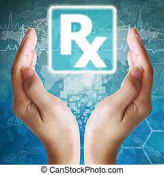 Prescription icon in hand ,medical icon