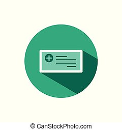 Prescription icon with shadow on a green circle. Vector pharmacy illustration