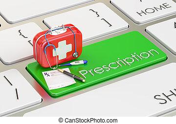 Prescription key on keyboard, 3D rendering