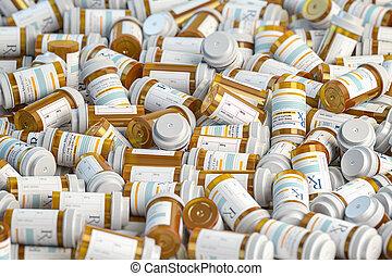 Prescription mdeicine pill bottles background. Medicine and pharmacy concept