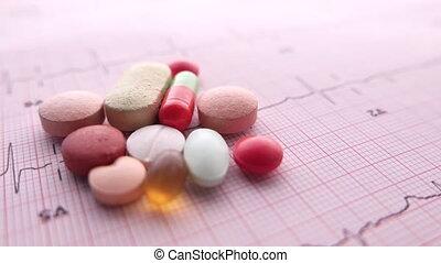 prescription medical pills on a cardio diagram