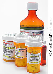 A variety of prescription medications with mock labels.