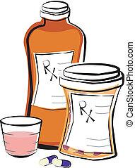 A bottle of liquid prescription medication and a bottle of prescription capsules.