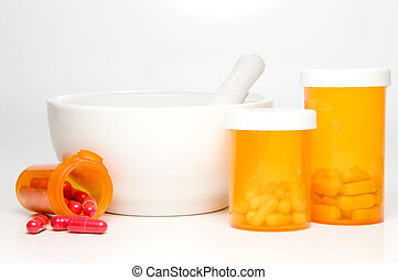 Prescription Medication - Prescription medicine bottles and...