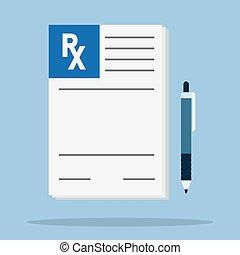 Rx prescription form. - Prescription pad. Medical...
