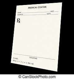 prescription pad - A blank prescription pad over a black...