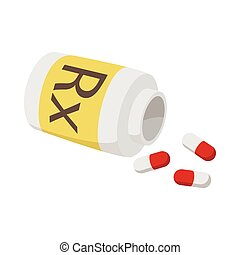 Prescription pills icon, cartoon style