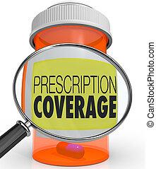 prescription, reportage, loupe, bouteille médicament