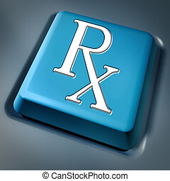 Prescription rx blue computer key on a keyboard button as a pharmacist symbol and medical data records concept for health care issues representing the medicine and pain releif cure recommended by medical hospital doctor.