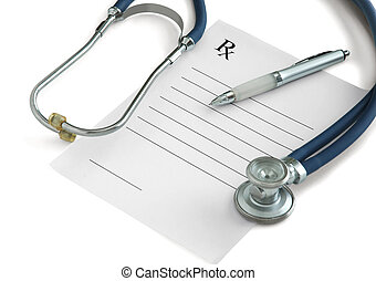Prescription - Stethoscope, a pen and a blank prescription...