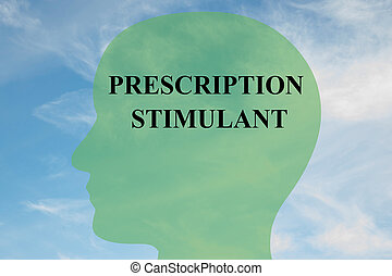 Render illustration of 'PRESCRIPTION STIMULANT' script on head silhouette, with cloudy sky as a background.