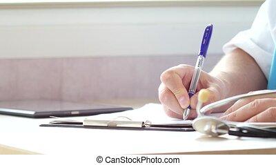prescription, tablette, docteur, écrire, numérique, utilisation