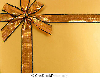 Present 1 - Gold gift with shinny ribbon and bow
