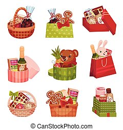 Present Baskets and Carton Boxes Full of Gifts Vector Set