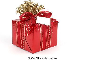 Present - Beautifully wrapped present in red and gold.