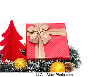 present box and fir tree and Christmas decoration on white