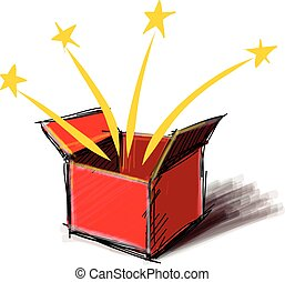 Present box cartoon sketch vector illustration