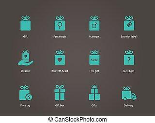 Present box icons.