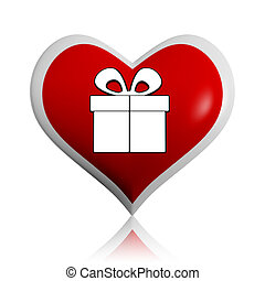 present box symbol in red heart banner