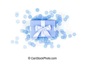 Present box with blue, bow on white background.