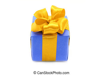 Present box with gold bow on a white background
