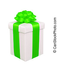 present box with green bow isolated on white