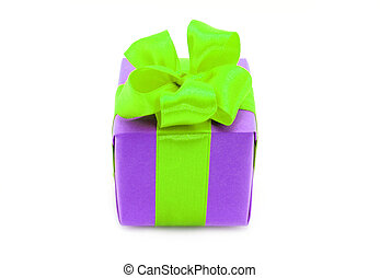 Present box with green bow on a white background