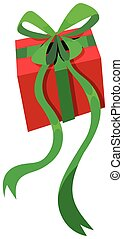 Present box with green ribbon