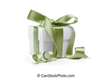 present box with green ribbon  isolated on white background