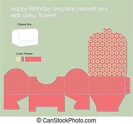 Present Box with Happy Birthday label