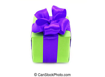 Present box with purple bow on a white background