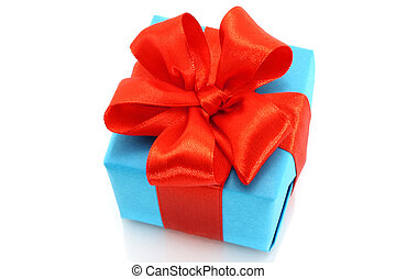 Present box with red bow on a white background