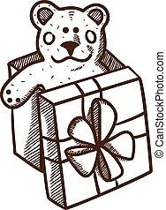 Present box with teddy bear