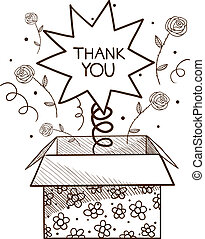 Present box with thank you sign. Sketch vector illustration