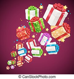 Present Boxes Background for Cards. Vector