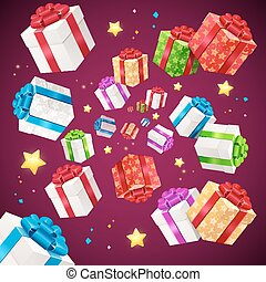 Present Boxes Background Holiday Birthday. Vector