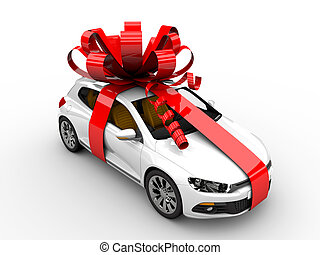 Present car - Modern white car with ribbon like a present