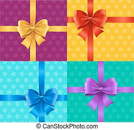 Present Card Background or Packaging Set. Vector