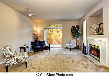 present day living room with carpet and fireplace.