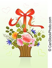 Present flower basket with red ribbon.