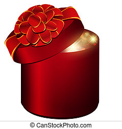 present - gift box with red bow over white background