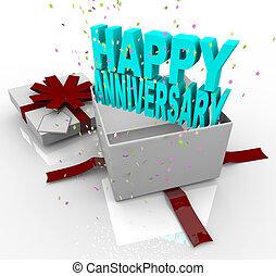 Present - Happy Anniversary Gift Box - A white gift box...
