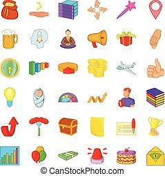 Present icons set, cartoon style