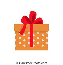 Present in Dotted Wrapped Wide Red Ribbon Vector